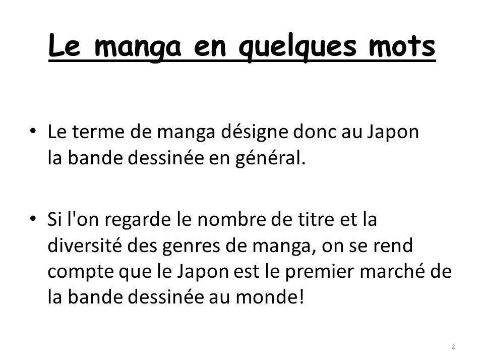 Le manga en quelques mots Le terme de manga désigne donc au Japon la bande dessinée en général. Si l'on regarde le nombre de titre et la diversité des