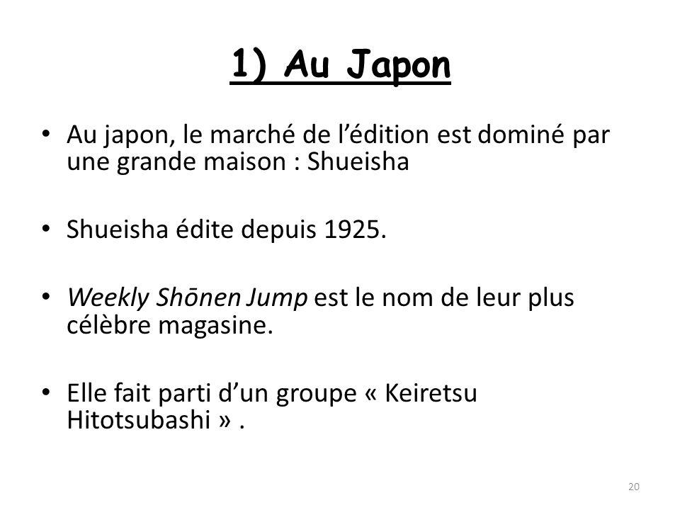 1) Au Japon Au japon, le marché de lédition est dominé par une grande maison : Shueisha Shueisha édite depuis 1925. Weekly Shōnen Jump est le nom de l