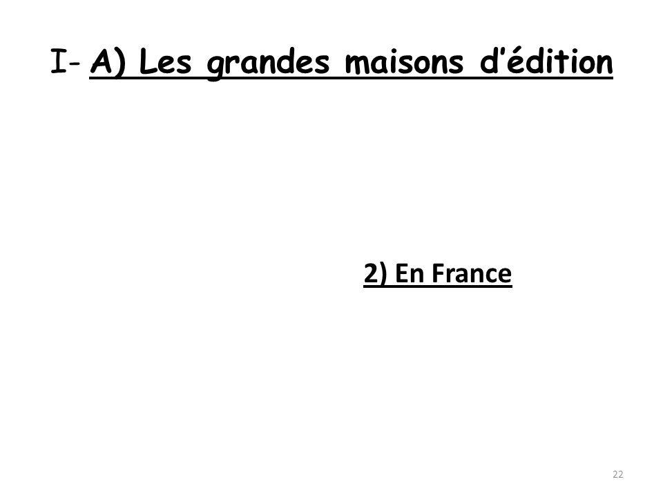 I- A) Les grandes maisons dédition 2) En France 22