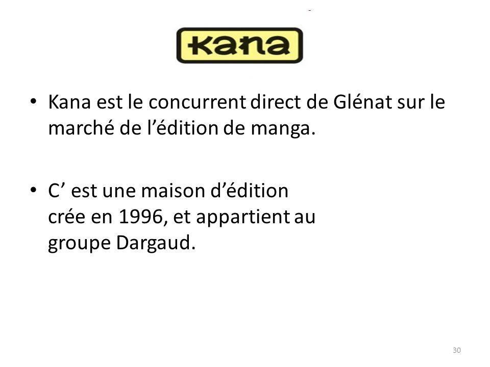 Kana est le concurrent direct de Glénat sur le marché de lédition de manga. C est une maison dédition crée en 1996, et appartient au groupe Dargaud. 3