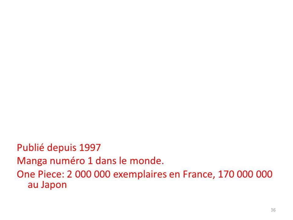 Publié depuis 1997 Manga numéro 1 dans le monde. One Piece: 2 000 000 exemplaires en France, 170 000 000 au Japon 36