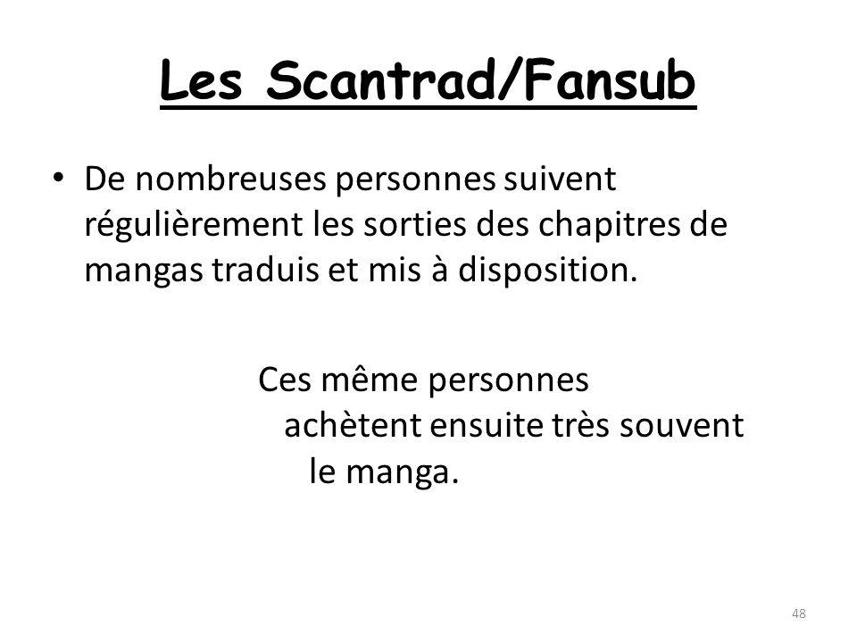 Les Scantrad/Fansub De nombreuses personnes suivent régulièrement les sorties des chapitres de mangas traduis et mis à disposition. Ces même personnes