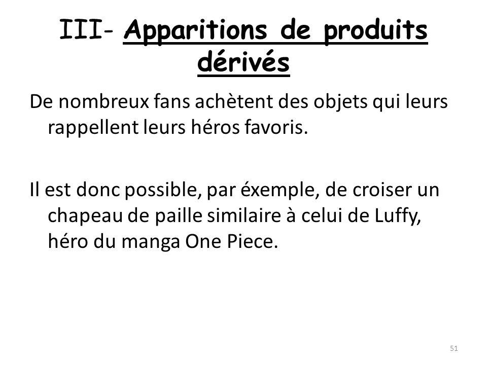 III- Apparitions de produits dérivés De nombreux fans achètent des objets qui leurs rappellent leurs héros favoris. Il est donc possible, par éxemple,