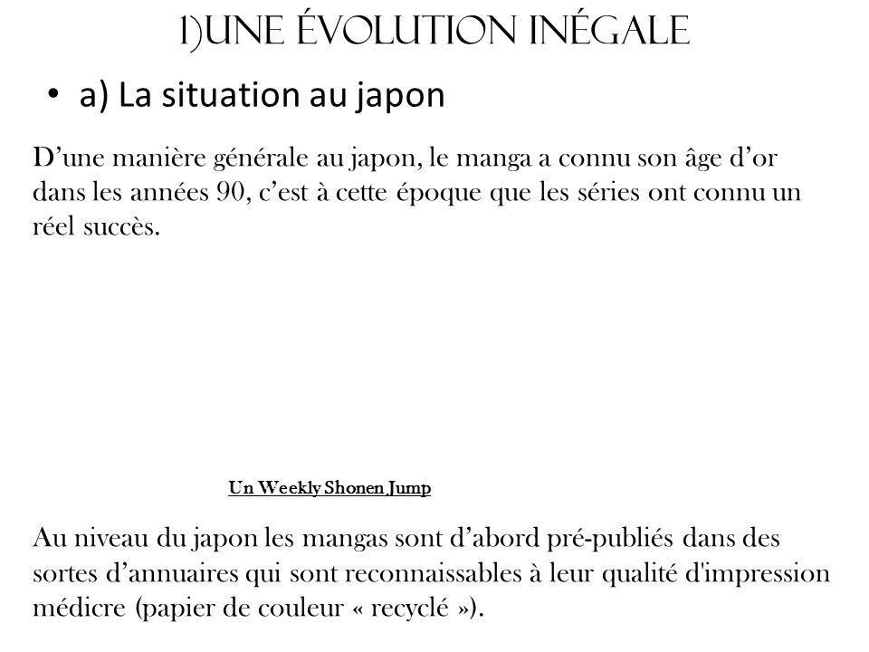 1)Une évolution inégale a) La situation au japon Dune manière générale au japon, le manga a connu son âge dor dans les années 90, cest à cette époque