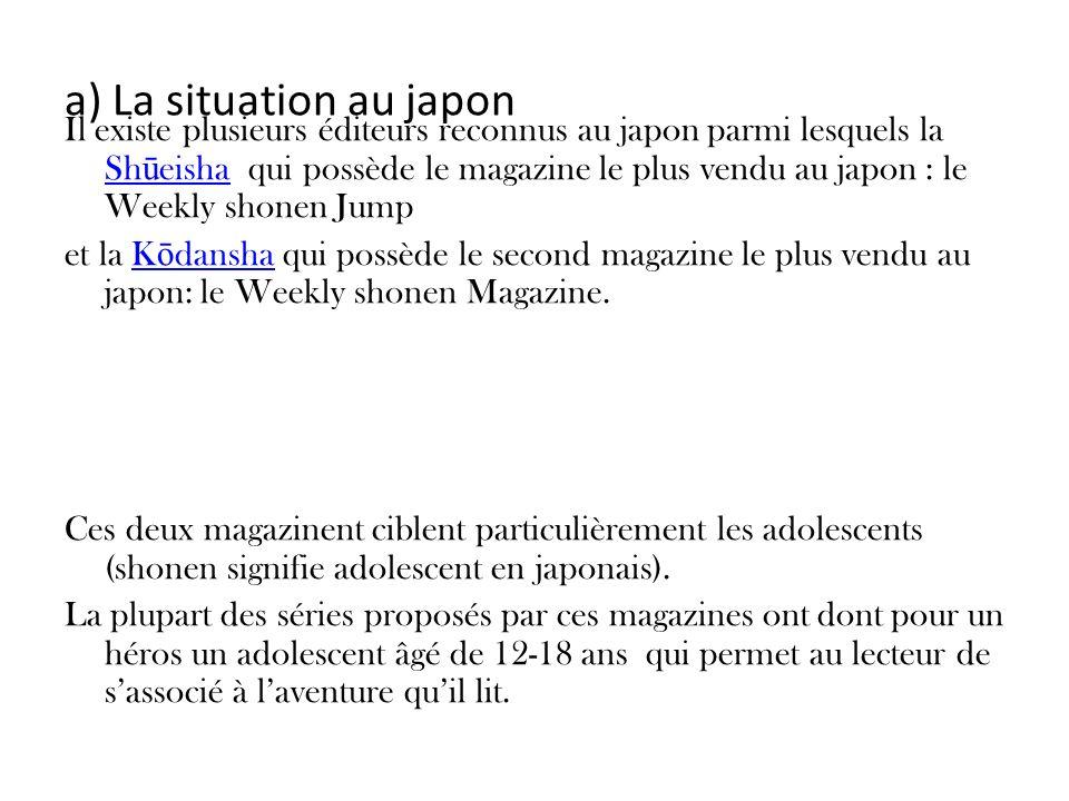 a) La situation au japon Il existe plusieurs éditeurs reconnus au japon parmi lesquels la Sh ū eisha qui possède le magazine le plus vendu au japon :