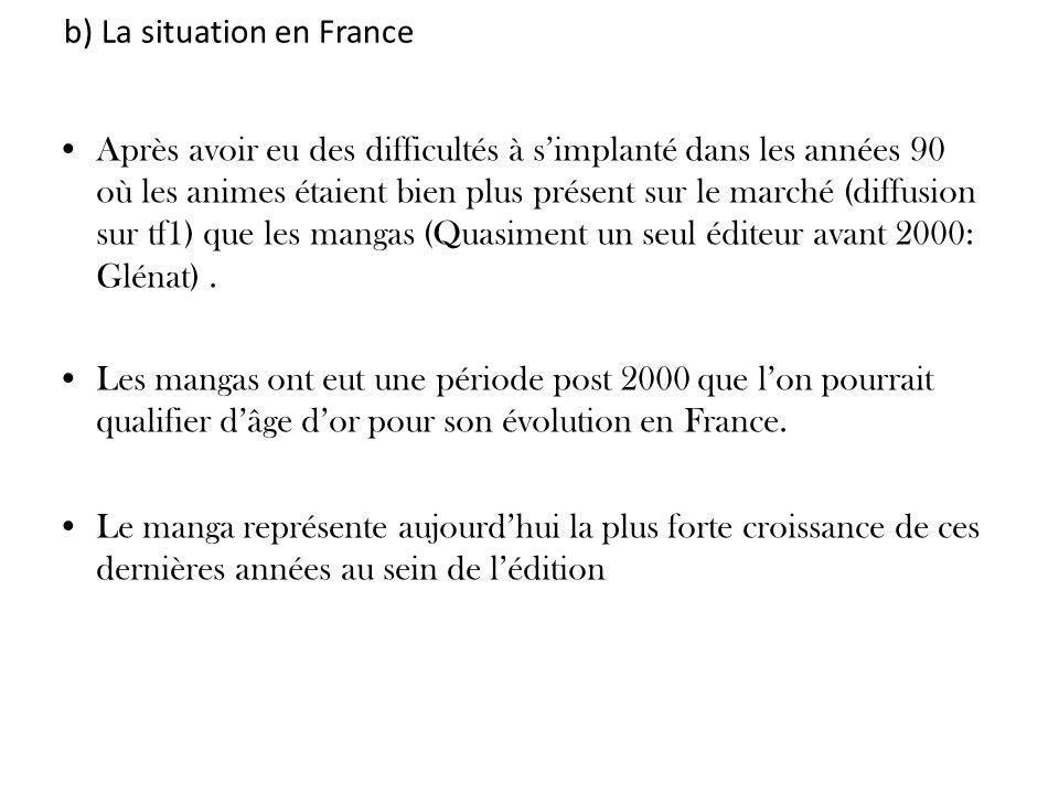 b) La situation en France Après avoir eu des difficultés à simplanté dans les années 90 où les animes étaient bien plus présent sur le marché (diffusi