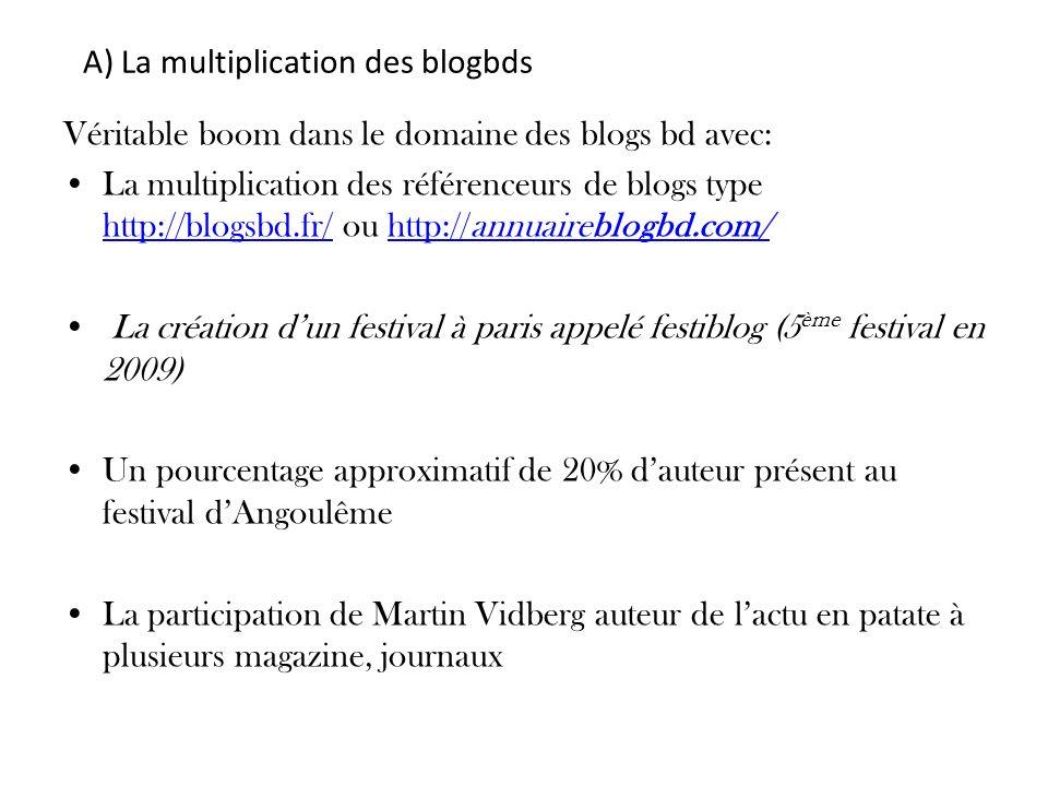 Véritable boom dans le domaine des blogs bd avec: La multiplication des référenceurs de blogs type http://blogsbd.fr/ ou http://annuaireblogbd.com/ ht