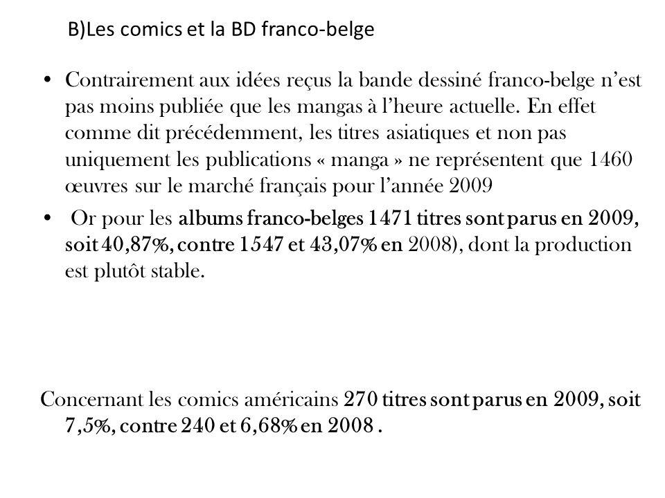 B)Les comics et la BD franco-belge Contrairement aux idées reçus la bande dessiné franco-belge nest pas moins publiée que les mangas à lheure actuelle