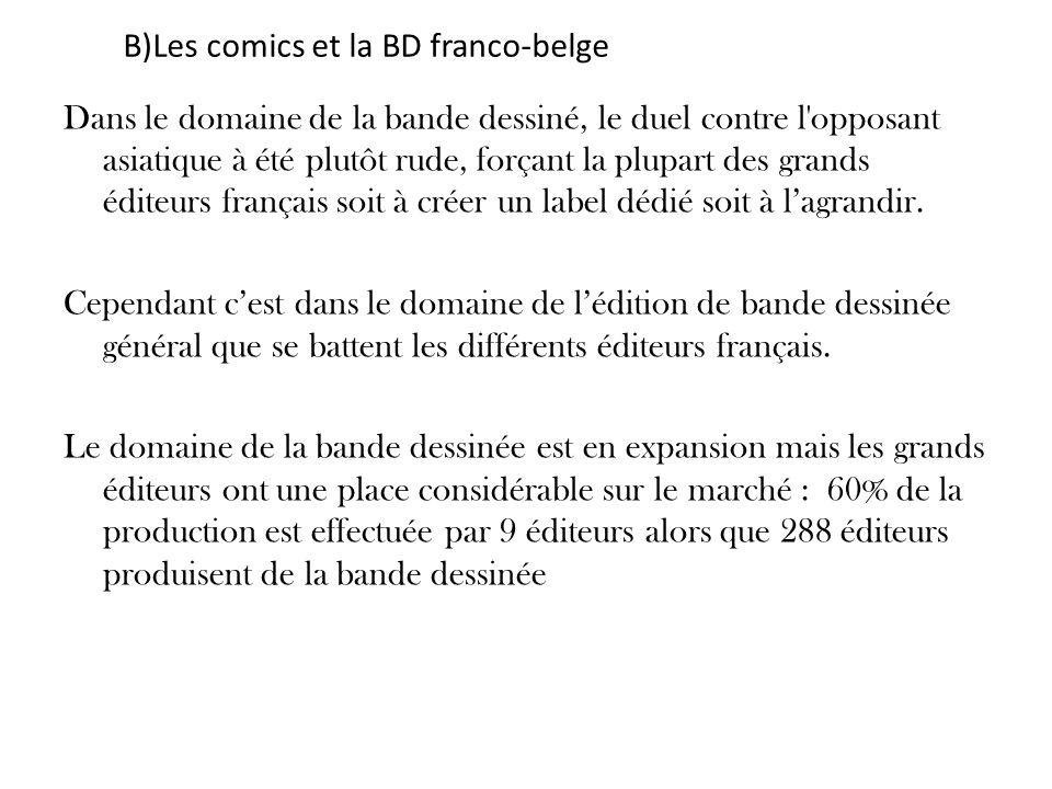 B)Les comics et la BD franco-belge Dans le domaine de la bande dessiné, le duel contre l'opposant asiatique à été plutôt rude, forçant la plupart des