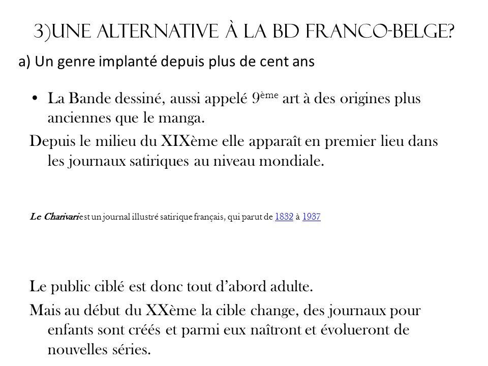 3)Une alternative à la Bd Franco-belge? La Bande dessiné, aussi appelé 9 ème art à des origines plus anciennes que le manga. Depuis le milieu du XIXèm