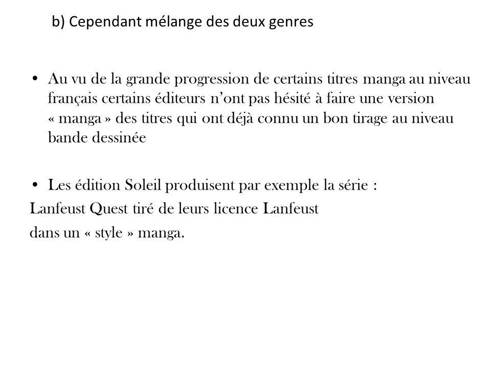 b) Cependant mélange des deux genres Au vu de la grande progression de certains titres manga au niveau français certains éditeurs nont pas hésité à fa