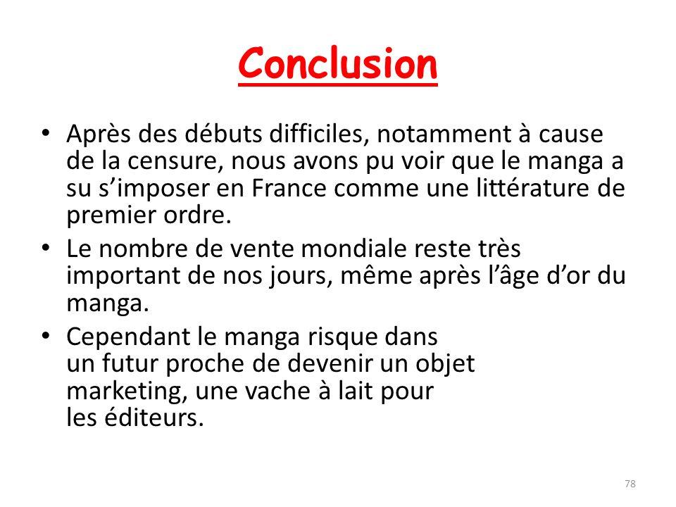 Conclusion Après des débuts difficiles, notamment à cause de la censure, nous avons pu voir que le manga a su simposer en France comme une littérature