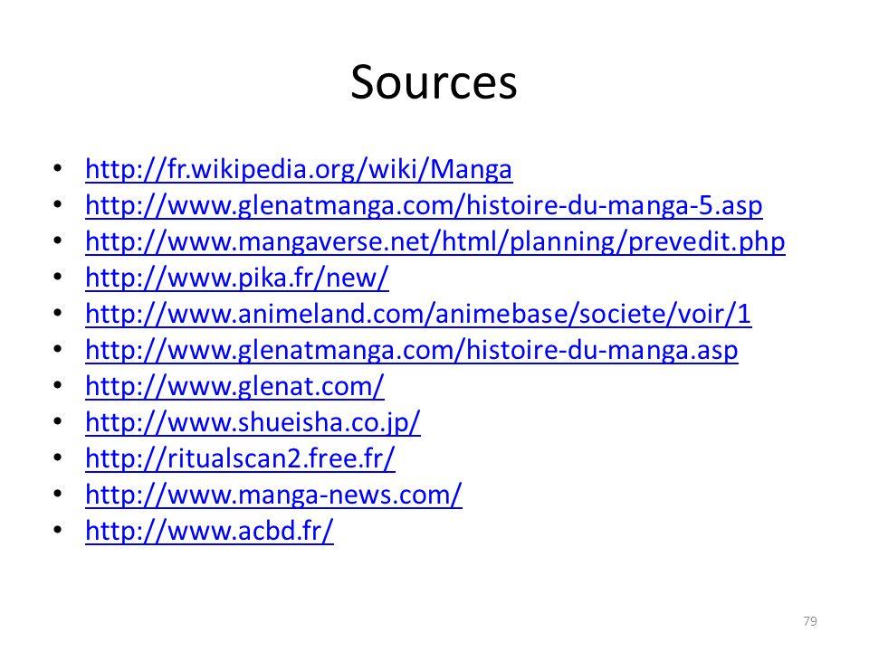 Sources http://fr.wikipedia.org/wiki/Manga http://www.glenatmanga.com/histoire-du-manga-5.asp http://www.mangaverse.net/html/planning/prevedit.php htt