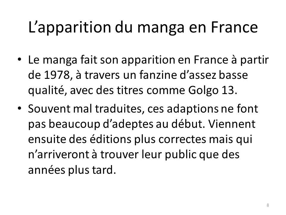 Lapparition du manga en France Le manga fait son apparition en France à partir de 1978, à travers un fanzine dassez basse qualité, avec des titres com