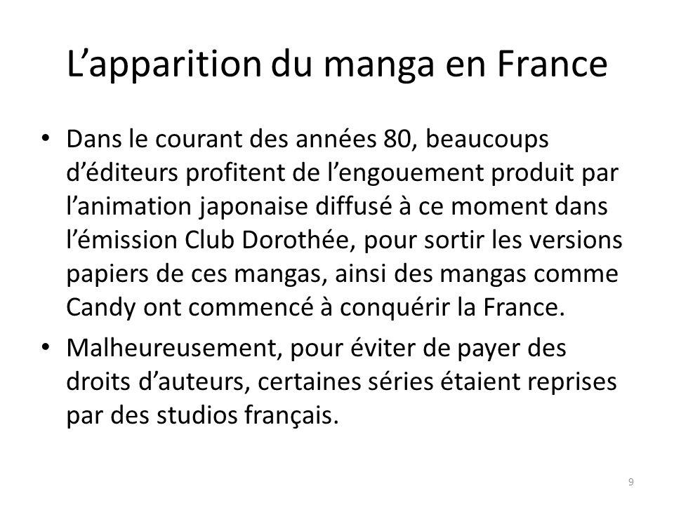 Lapparition du manga en France Dans le courant des années 80, beaucoups déditeurs profitent de lengouement produit par lanimation japonaise diffusé à