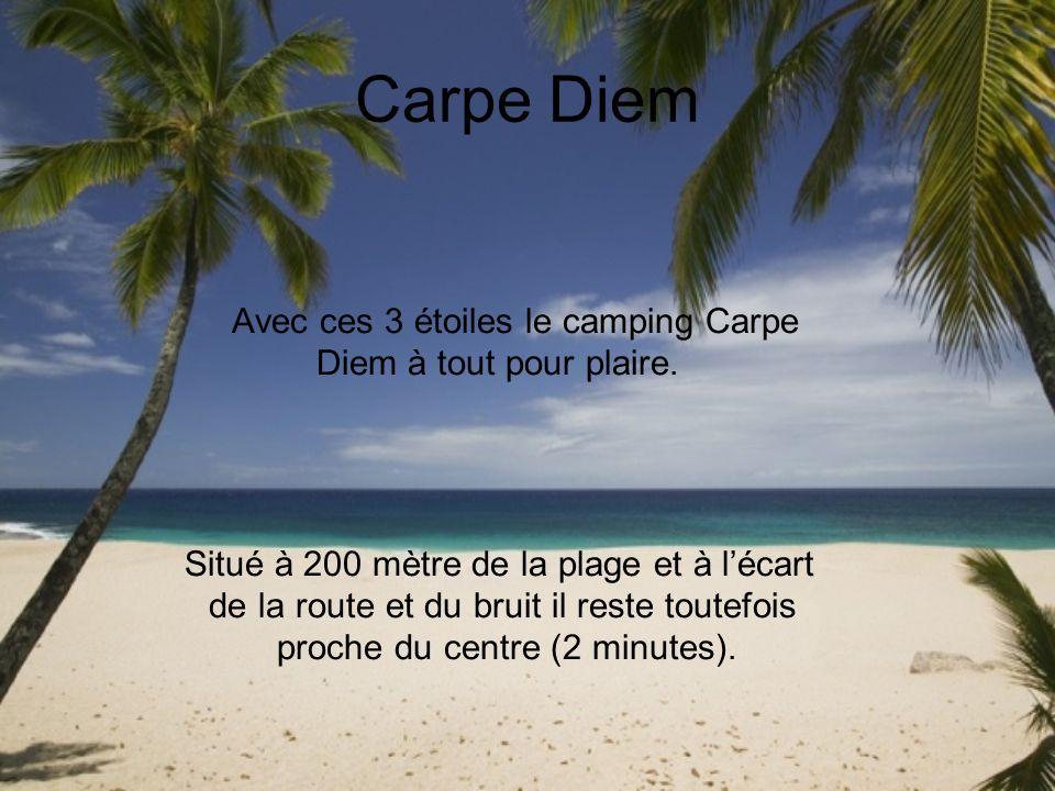 Carpe Diem Avec ces 3 étoiles le camping Carpe Diem à tout pour plaire. Situé à 200 mètre de la plage et à lécart de la route et du bruit il reste tou
