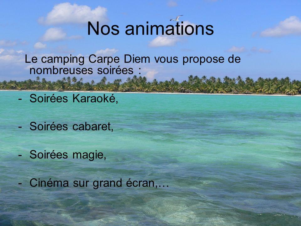 Nos animations Le camping Carpe Diem vous propose de nombreuses soirées : -Soirées Karaoké, -Soirées cabaret, -Soirées magie, -Cinéma sur grand écran,