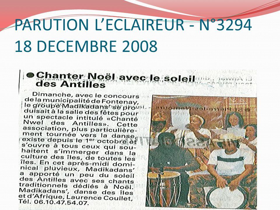 PARUTION LECLAIREUR - N°3294 18 DECEMBRE 2008