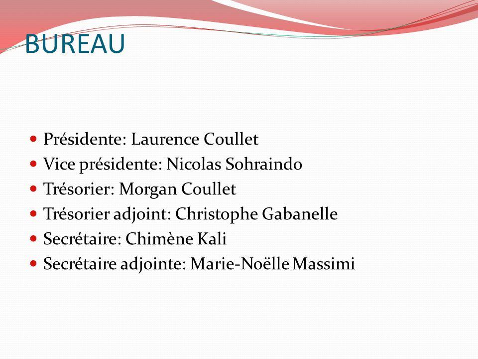 BUREAU Présidente: Laurence Coullet Vice présidente: Nicolas Sohraindo Trésorier: Morgan Coullet Trésorier adjoint: Christophe Gabanelle Secrétaire: C