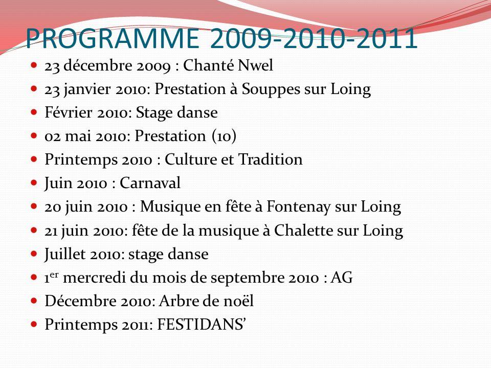 PROGRAMME 2009-2010-2011 23 décembre 2009 : Chanté Nwel 23 janvier 2010: Prestation à Souppes sur Loing Février 2010: Stage danse 02 mai 2010: Prestat