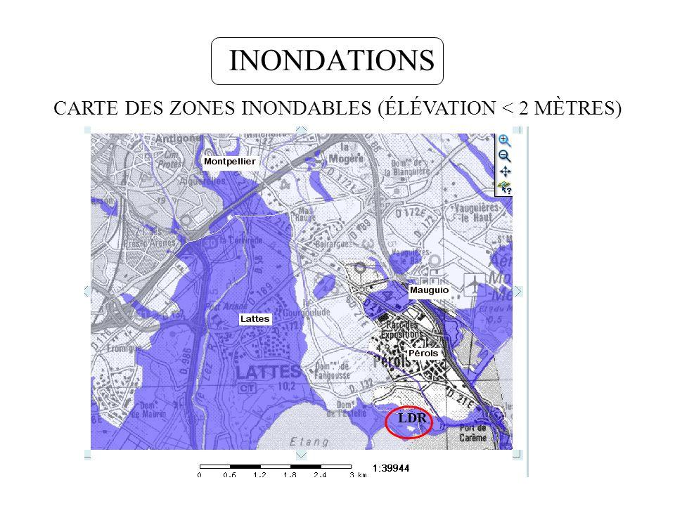 INONDATIONS LDR CARTE DES ZONES INONDABLES (ÉLÉVATION < 2 MÈTRES)