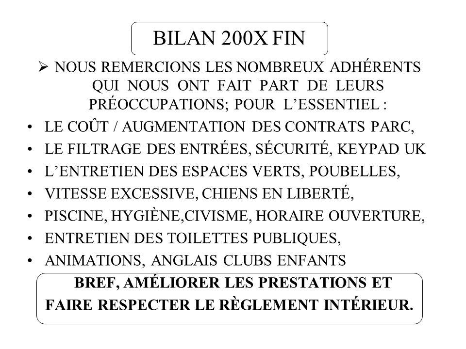BILAN 200X FIN NOUS REMERCIONS LES NOMBREUX ADHÉRENTS QUI NOUS ONT FAIT PART DE LEURS PRÉOCCUPATIONS; POUR LESSENTIEL : LE COÛT / AUGMENTATION DES CON