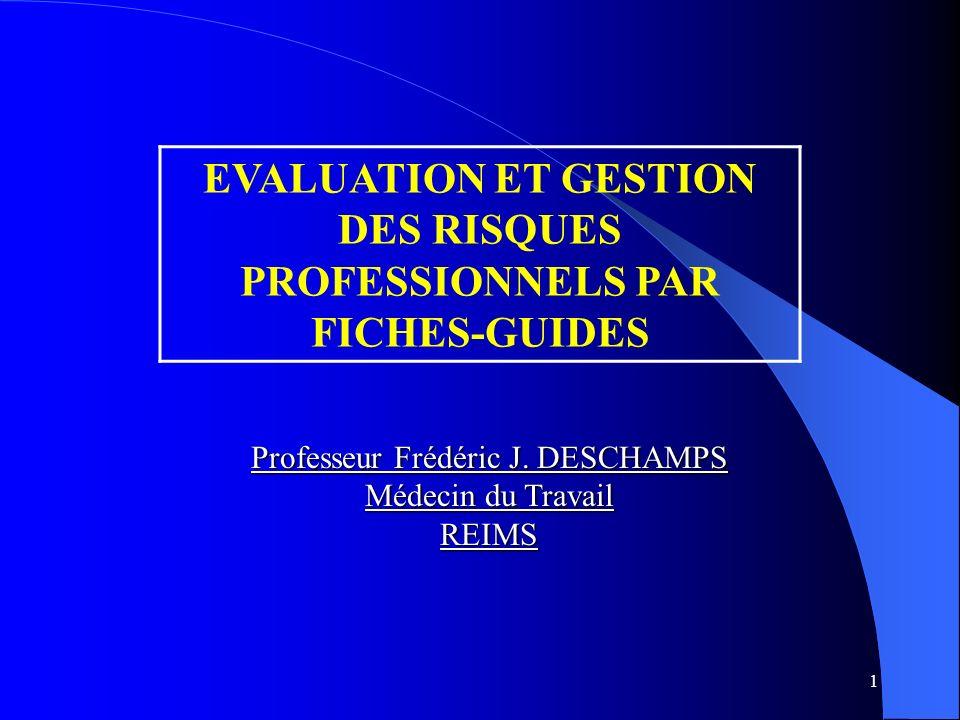 1 EVALUATION ET GESTION DES RISQUES PROFESSIONNELS PAR FICHES-GUIDES Professeur Frédéric J.