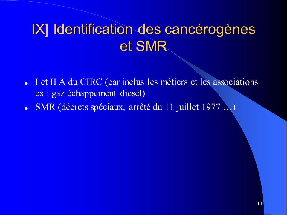 11 IX] Identification des cancérogènes et SMR I et II A du CIRC (car inclus les métiers et les associations ex : gaz échappement diesel) SMR (décrets spéciaux, arrêté du 11 juillet 1977 …)