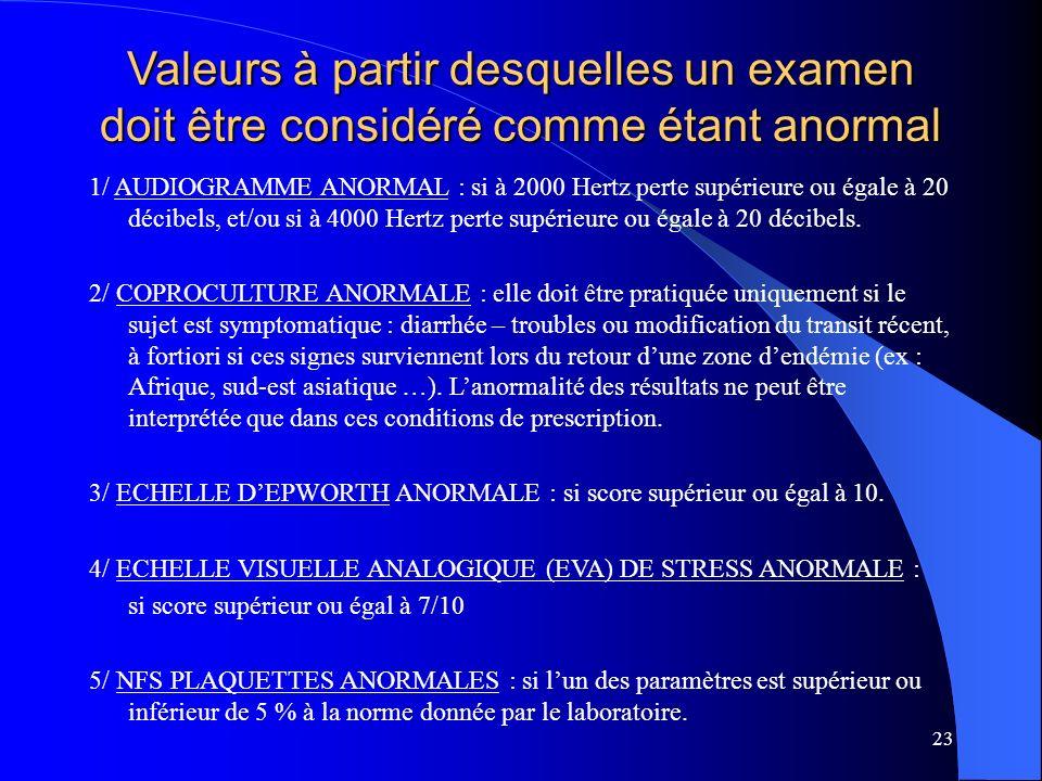 23 Valeurs à partir desquelles un examen doit être considéré comme étant anormal 1/ AUDIOGRAMME ANORMAL : si à 2000 Hertz perte supérieure ou égale à 20 décibels, et/ou si à 4000 Hertz perte supérieure ou égale à 20 décibels.