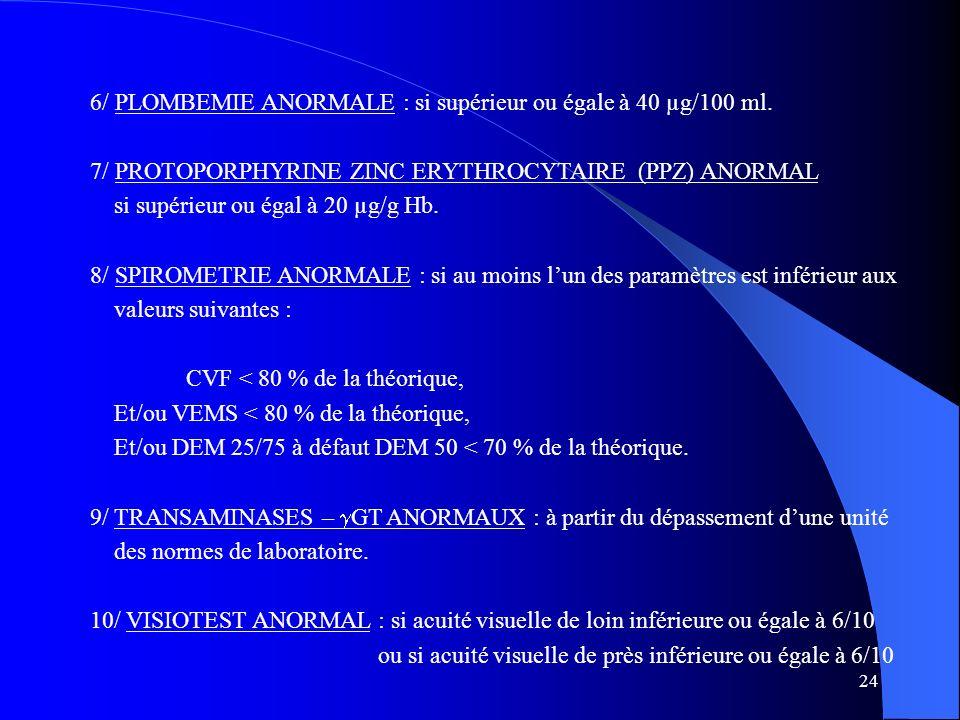 24 6/ PLOMBEMIE ANORMALE : si supérieur ou égale à 40 µg/100 ml.