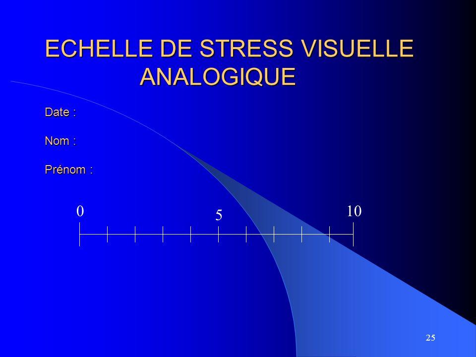 25 ECHELLE DE STRESS VISUELLE ANALOGIQUE Date : Nom : Prénom : 010 5