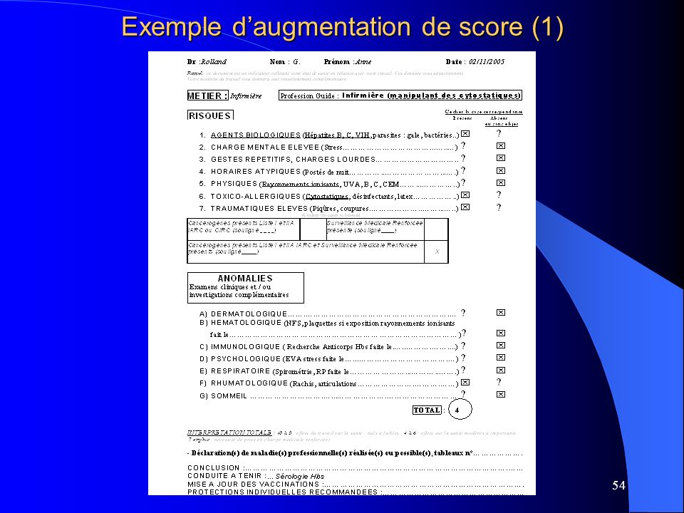 54 Exemple daugmentation de score (1)