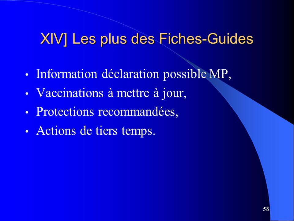 58 XIV] Les plus des Fiches-Guides Information déclaration possible MP, Vaccinations à mettre à jour, Protections recommandées, Actions de tiers temps.