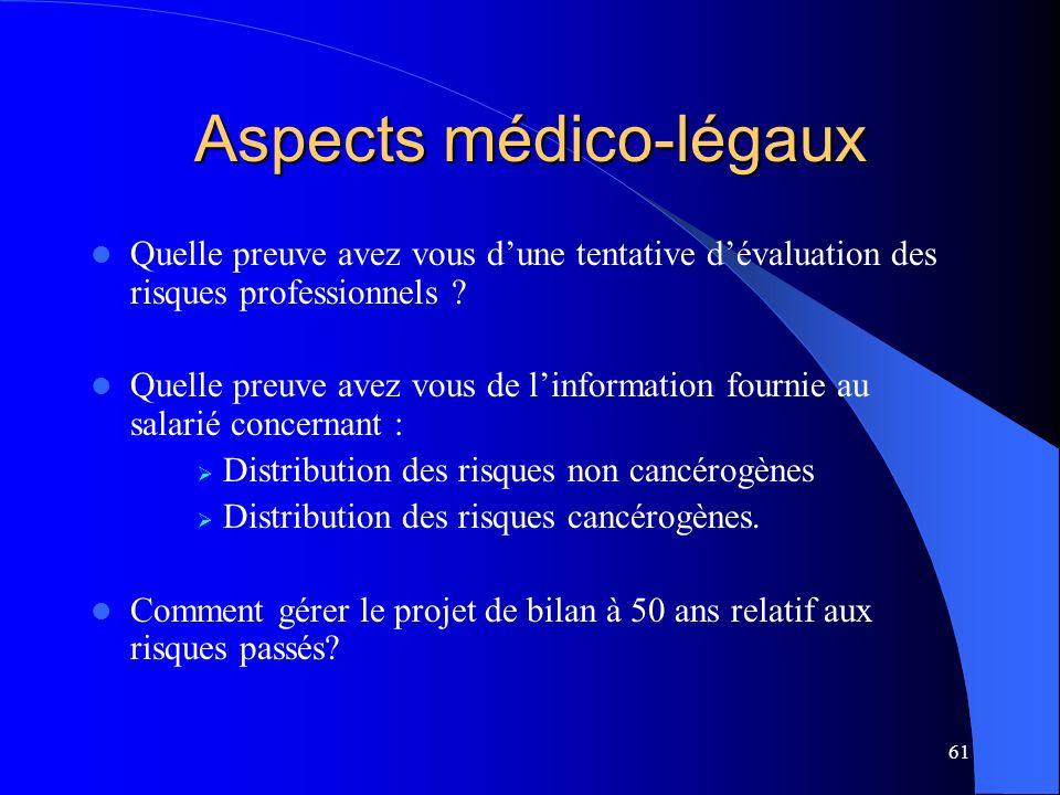 61 Aspects médico-légaux Quelle preuve avez vous dune tentative dévaluation des risques professionnels .
