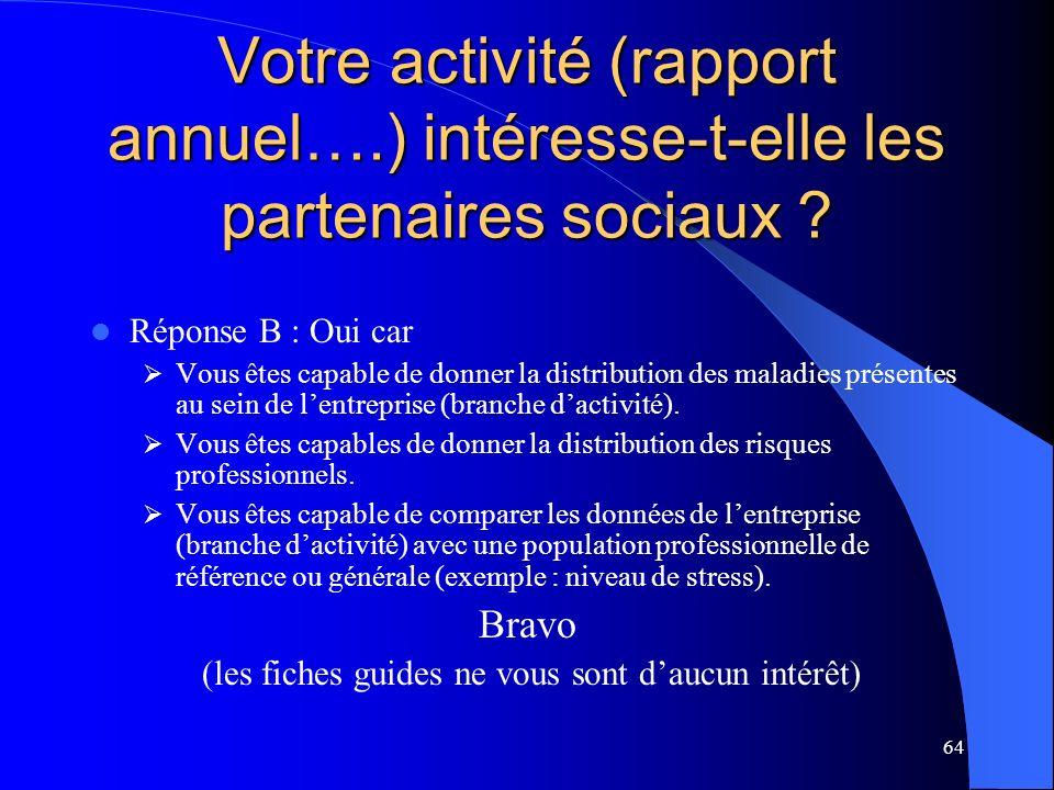 64 Votre activité (rapport annuel….) intéresse-t-elle les partenaires sociaux .