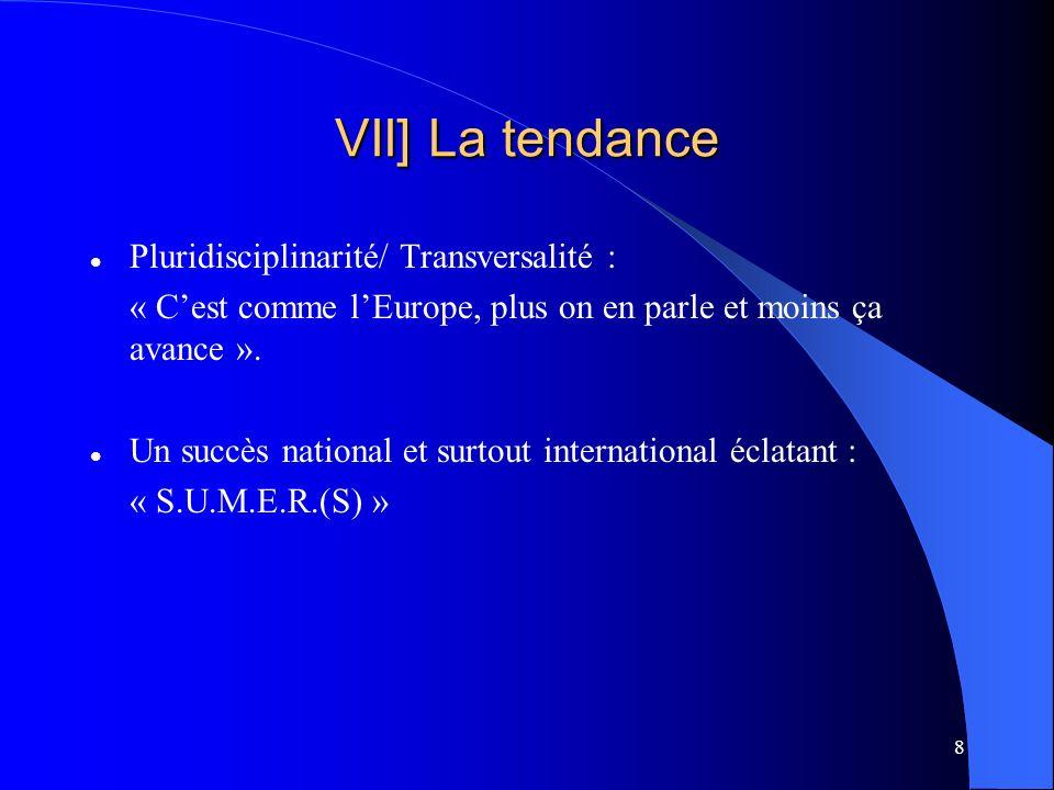 8 VII] La tendance Pluridisciplinarité/ Transversalité : « Cest comme lEurope, plus on en parle et moins ça avance ».