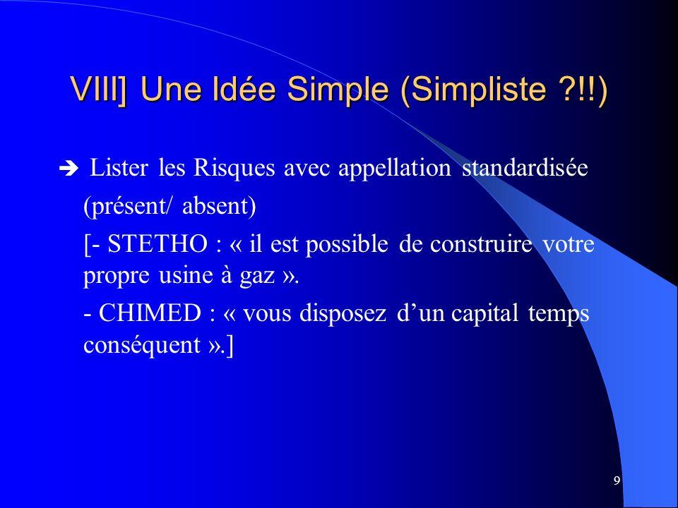 9 VIII] Une Idée Simple (Simpliste ?!!) Lister les Risques avec appellation standardisée (présent/ absent) [- STETHO : « il est possible de construire votre propre usine à gaz ».