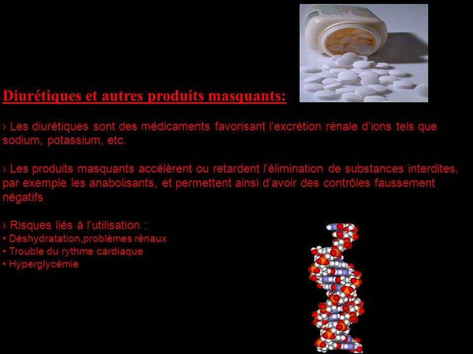 Diurétiques et autres produits masquants: Les diurétiques sont des médicaments favorisant lexcrétion rénale dions tels que sodium, potassium, etc. Les