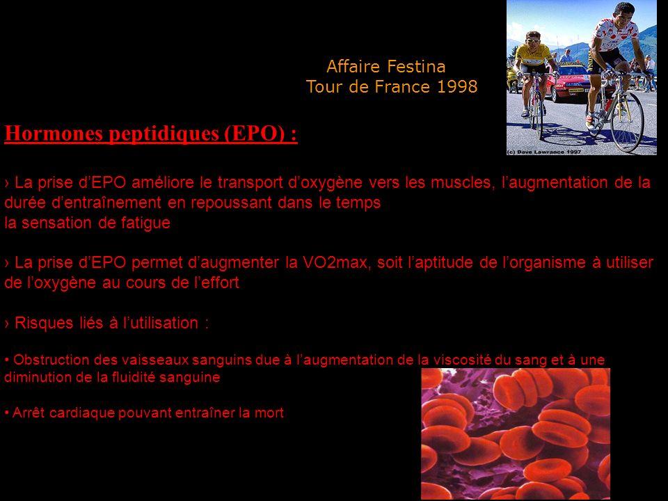 Hormones peptidiques (EPO) : La prise dEPO améliore le transport doxygène vers les muscles, laugmentation de la durée dentraînement en repoussant dans