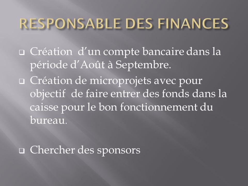 Création dun compte bancaire dans la période dAoût à Septembre. Création de microprojets avec pour objectif de faire entrer des fonds dans la caisse p