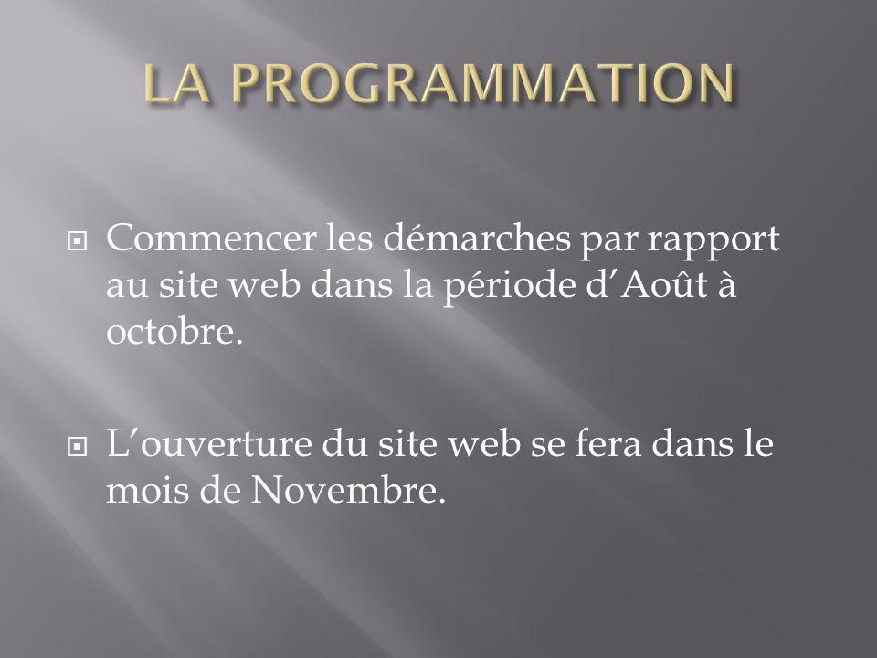 Commencer les démarches par rapport au site web dans la période dAoût à octobre. Louverture du site web se fera dans le mois de Novembre.