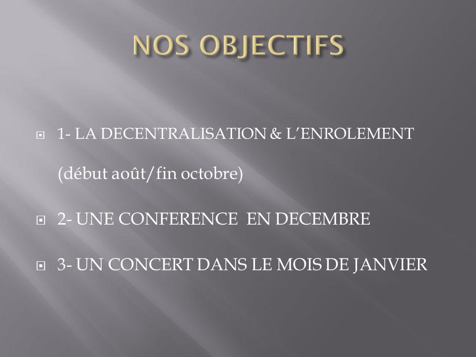 1- LA DECENTRALISATION & LENROLEMENT (début août/fin octobre) 2- UNE CONFERENCE EN DECEMBRE 3- UN CONCERT DANS LE MOIS DE JANVIER