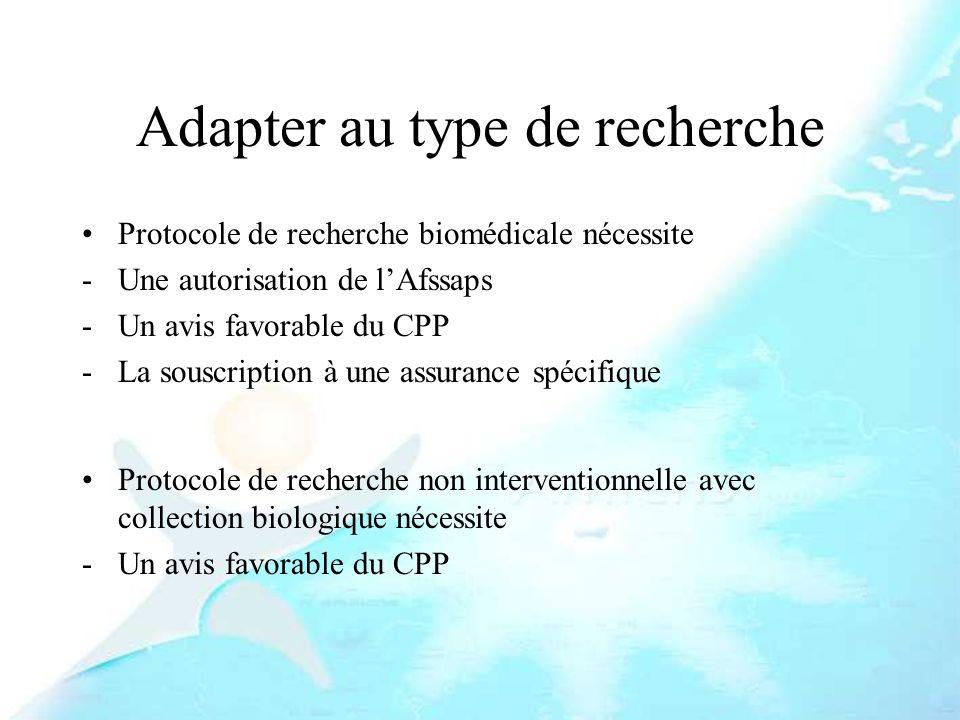 Adapter au type de recherche Protocole de recherche biomédicale nécessite -Une autorisation de lAfssaps -Un avis favorable du CPP -La souscription à u