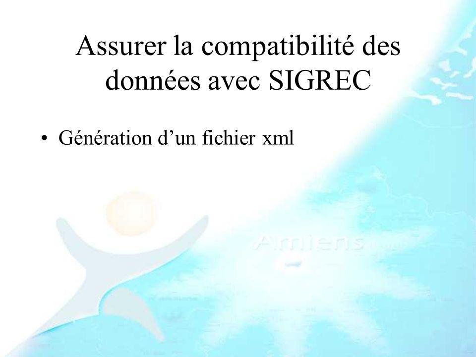 Assurer la compatibilité des données avec SIGREC Génération dun fichier xml