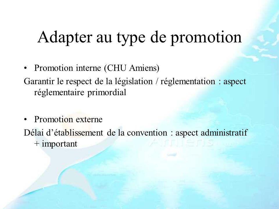 Adapter au type de promotion Promotion interne (CHU Amiens) Garantir le respect de la législation / réglementation : aspect réglementaire primordial P