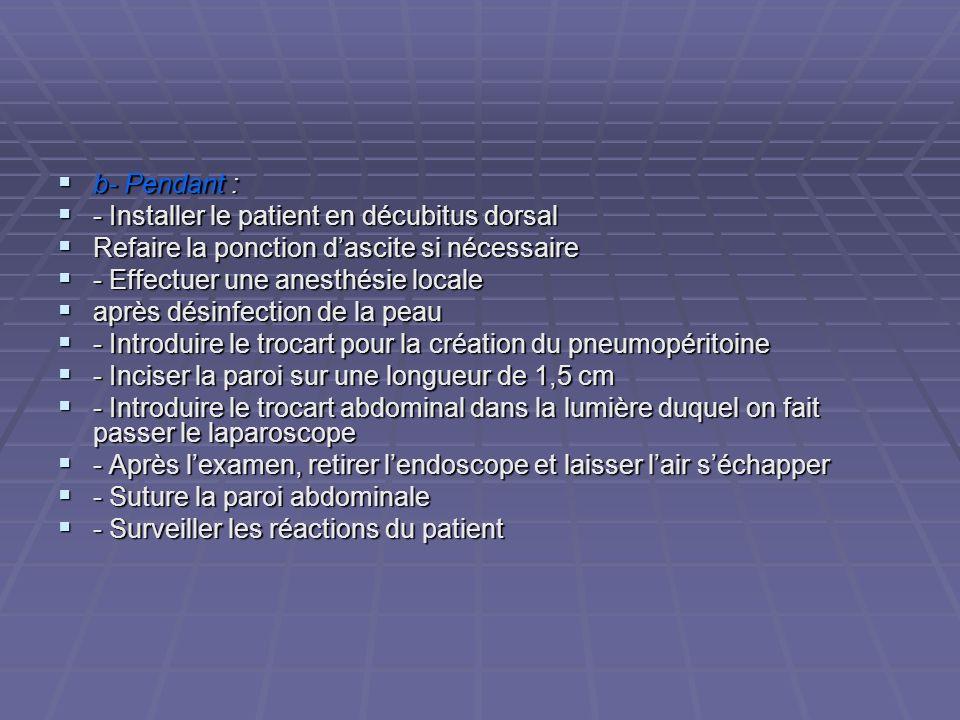 b- Pendant : b- Pendant : - Installer le patient en décubitus dorsal - Installer le patient en décubitus dorsal Refaire la ponction dascite si nécessa