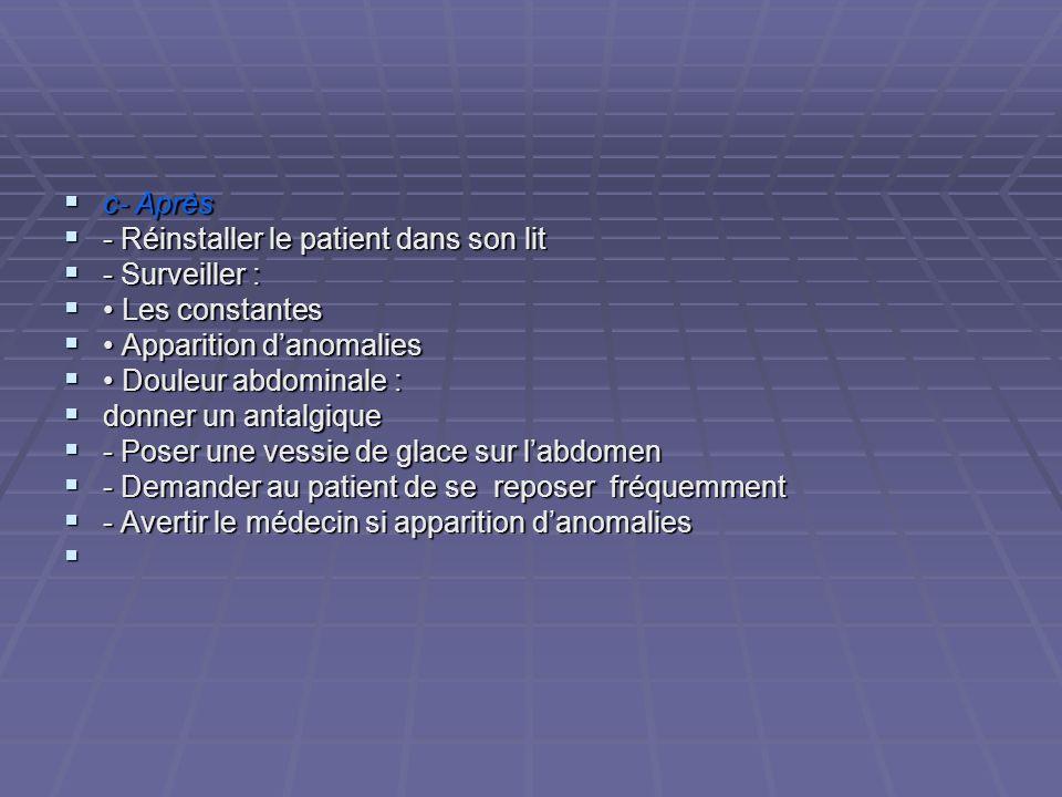 c- Après c- Après - Réinstaller le patient dans son lit - Réinstaller le patient dans son lit - Surveiller : - Surveiller : Les constantes Les constan
