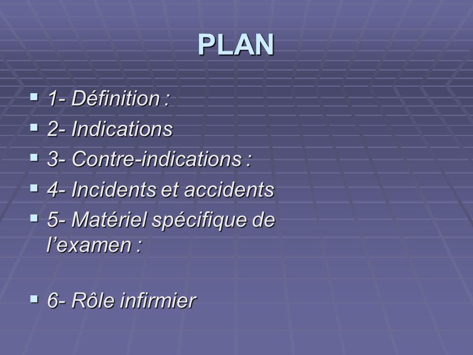 PLAN 1- Définition : 1- Définition : 2- Indications 2- Indications 3- Contre-indications : 3- Contre-indications : 4- Incidents et accidents 4- Incide