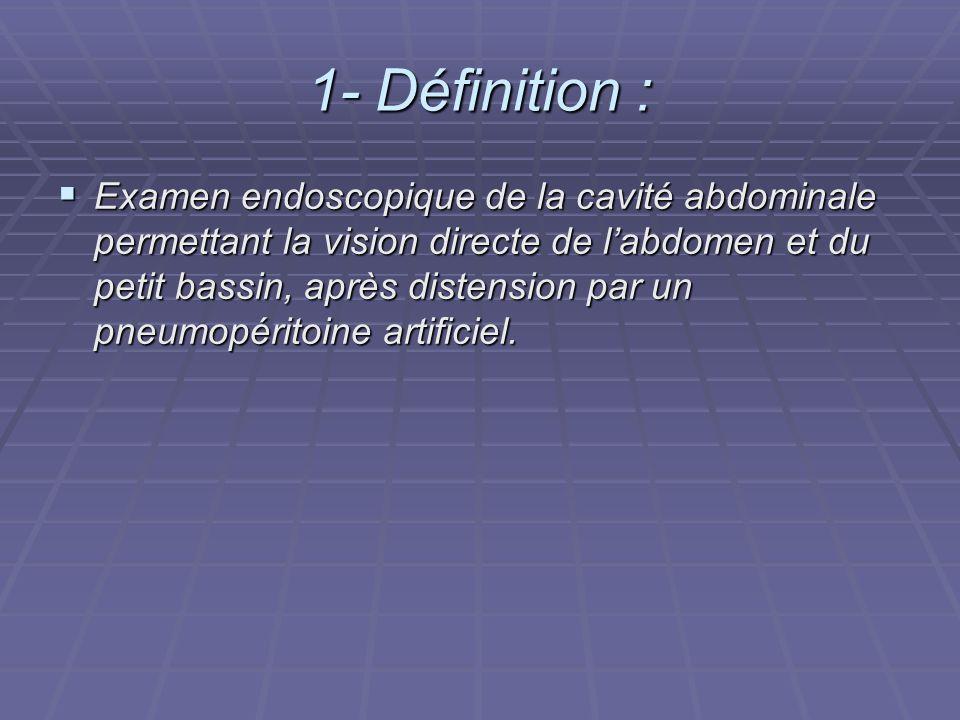 1- Définition : Examen endoscopique de la cavité abdominale permettant la vision directe de labdomen et du petit bassin, après distension par un pneum