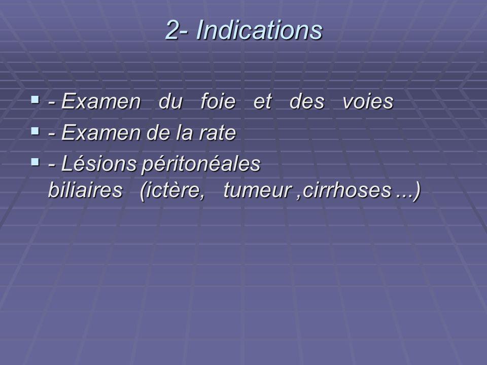2- Indications - Examen du foie et des voies - Examen du foie et des voies - Examen de la rate - Examen de la rate - Lésions péritonéales biliaires (i